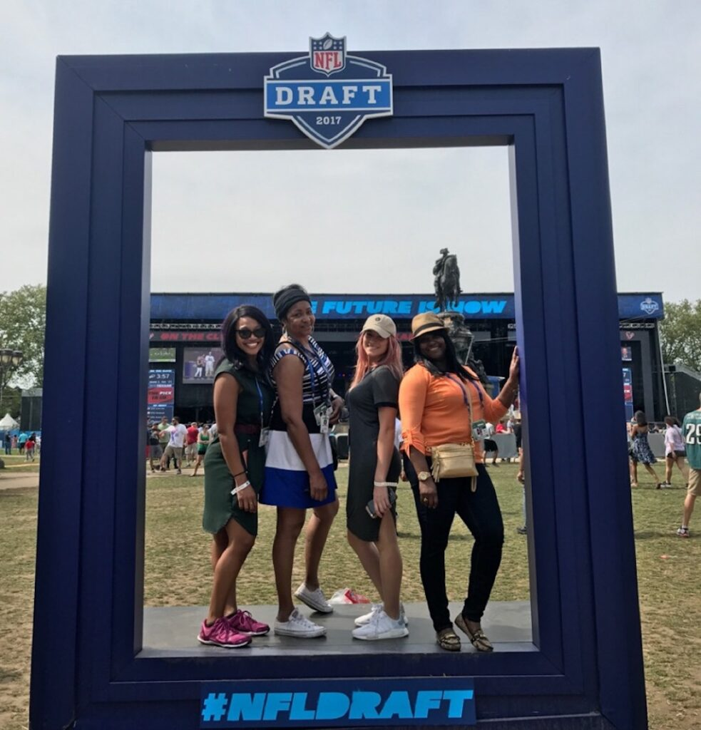 Mechelle Sabb (right) with (from left) Olivia Gillison, Jazelle Jones and Natalie Faragalli at the NFL Draft in Philly