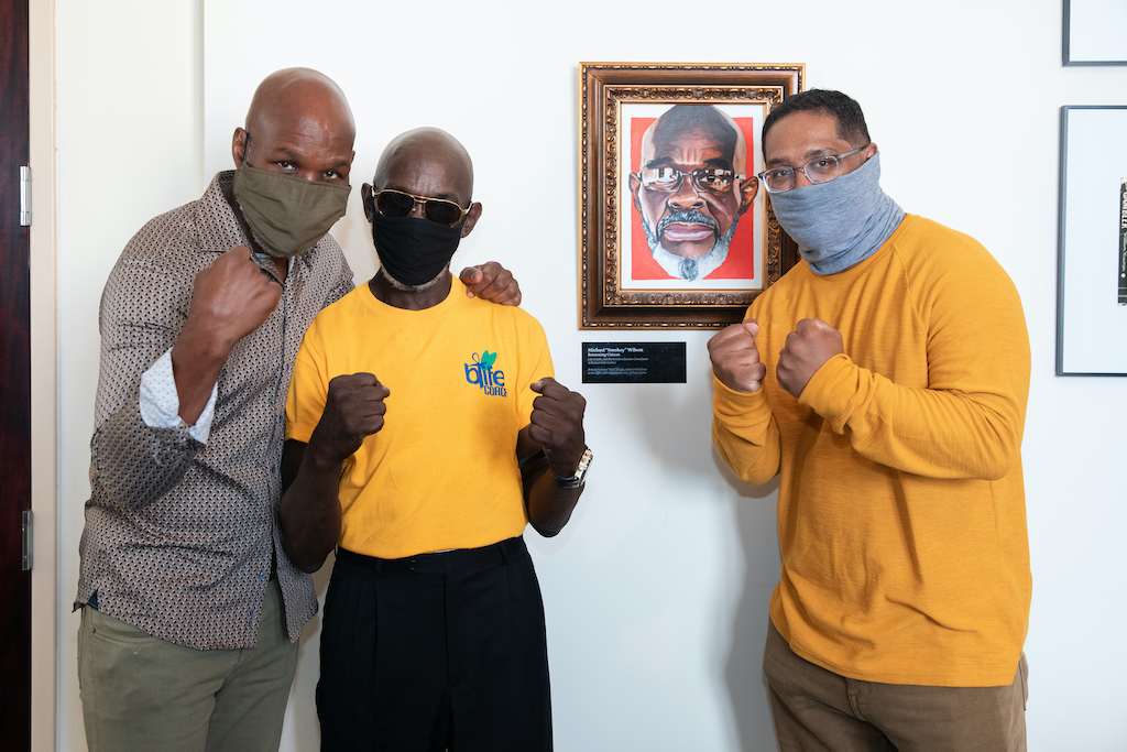 Bernard Hopkins ushers in James 'Yaya' Hough's new temporary art installation at D.A.'s office